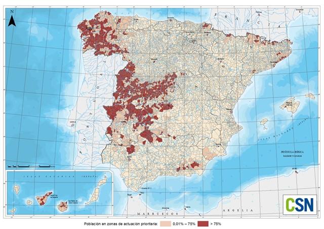 mapa del gas radon en españa